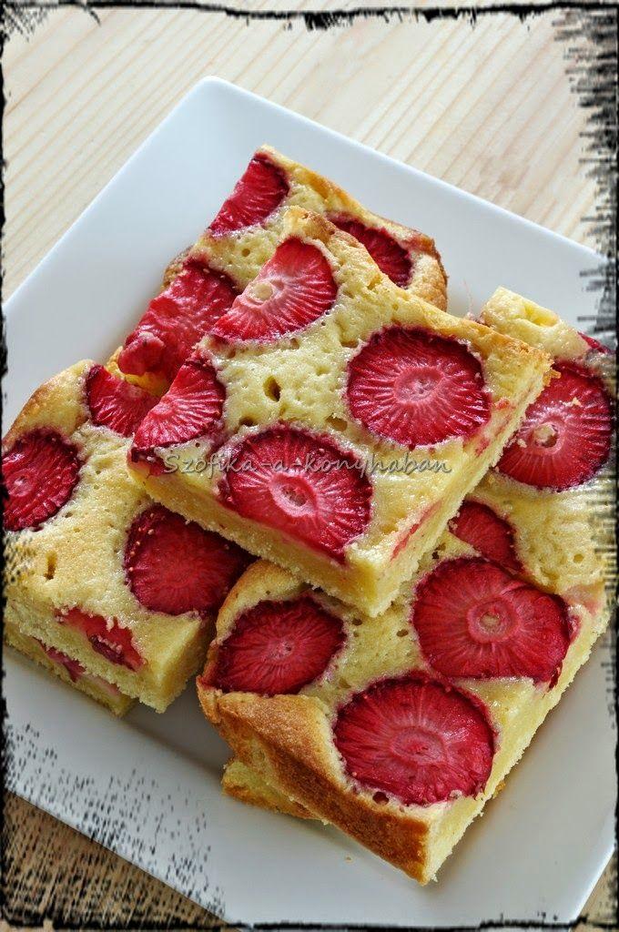 Strawberry blondie, recipe here:  http://szofika-a-konyhaban.blogspot.co.uk/2014/04/epres-blondie.html