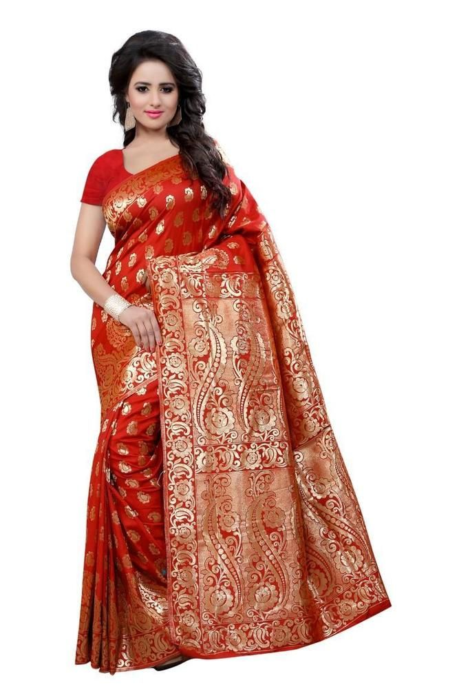 SAREE SPECIFICATIONS. Made From Art silk saree Fabric. Pattern: beautiful Golden Art silk saree with print saris. Color: Red (Due to the inherent nature of photography color of the sari might look a bit darker or lighter in the picture.). | eBay!