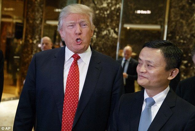 The Donald welcomes billionaire founder of China's Alibaba website to Trump Tower as he praises the entrepreneur's plant create 'one million jobs in the US