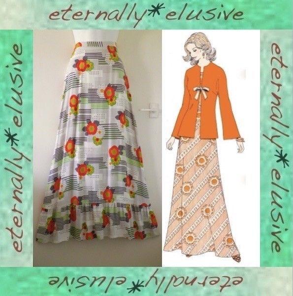 Original 1970s Vintage C&A Long Funky Floral Maxi Skirt Boho Festival Size 6 / 8