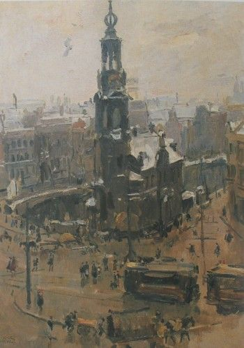 Isaac Israëls - Gezicht op de Munt te Amsterdam tijdens dooiweer (1918)