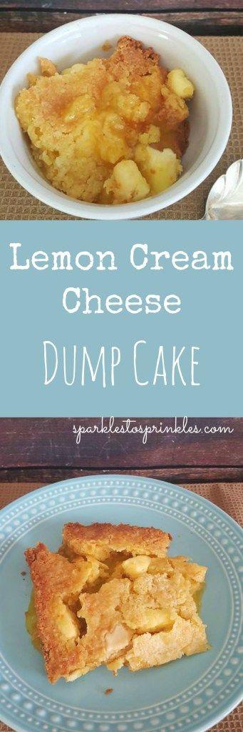 Delicious Lemon Cream Cheese Dump Cake is so easy to make.  Pin for Later! #dumpcake #baking #cake