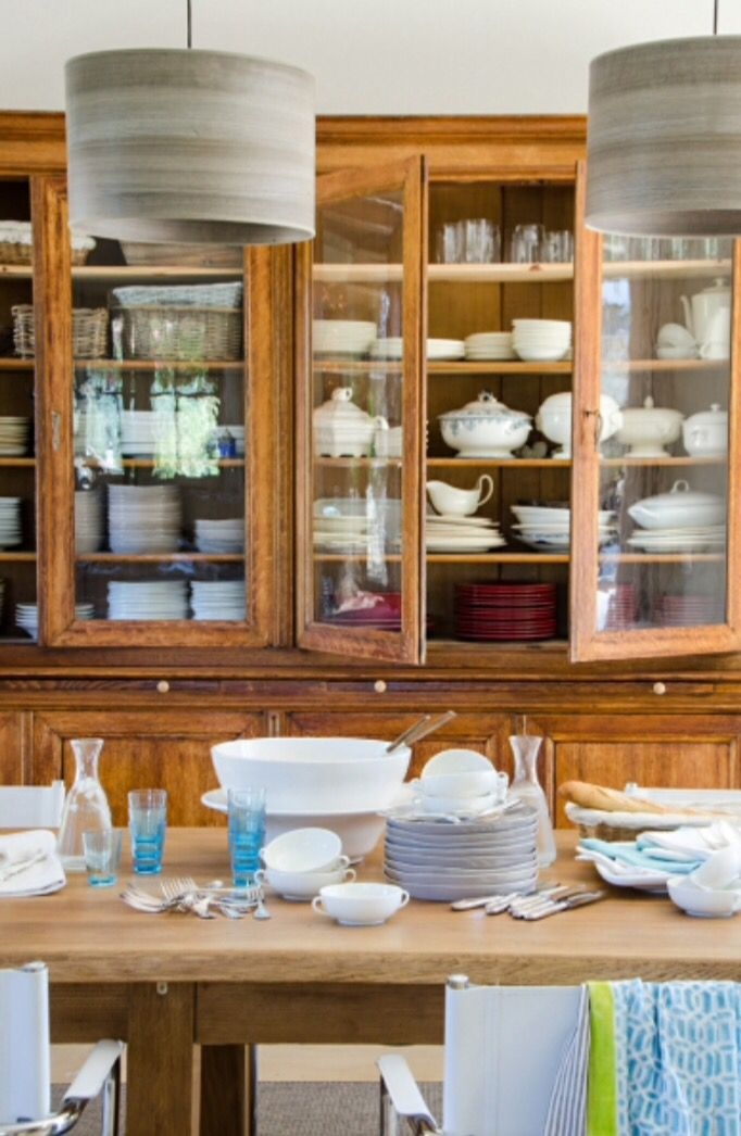 """This beautiful display cabinet filled with crockery is from our feature """"La Beauté de Provence"""""""