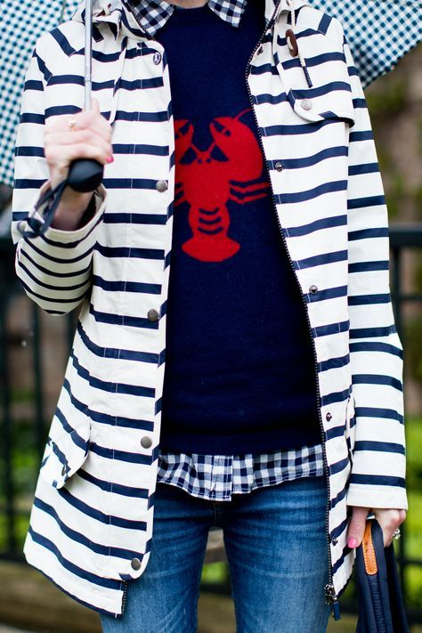Lobster sweater // Navy striped rain coat and quilted navy bag