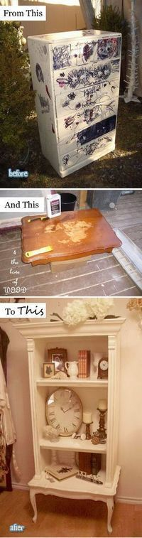 DIY French Book Shelf From A Frightening Dresser.                                                                                                                                                                                 More