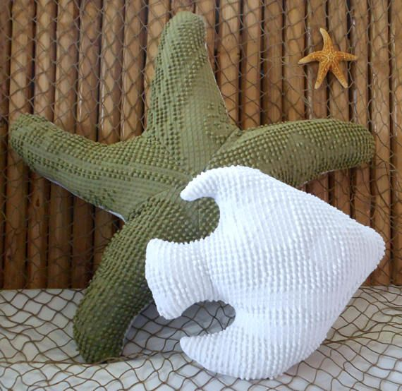 Starfish pillow! Beach pillow, coastal living decor! New medium size! The idea came from a custom order who wanted a smaller sized starfish pillow for her beach house sofa. I thought it would be a great idea to add to my shop since not everyone wants or needs a large starfish. The pillow is made from a vintage chenille hobnail bedspread which was hand dyed to a rich hunter green color and measures 18 inches across. The back of the pillow is constructed of an off white polar fleece. Perfect…