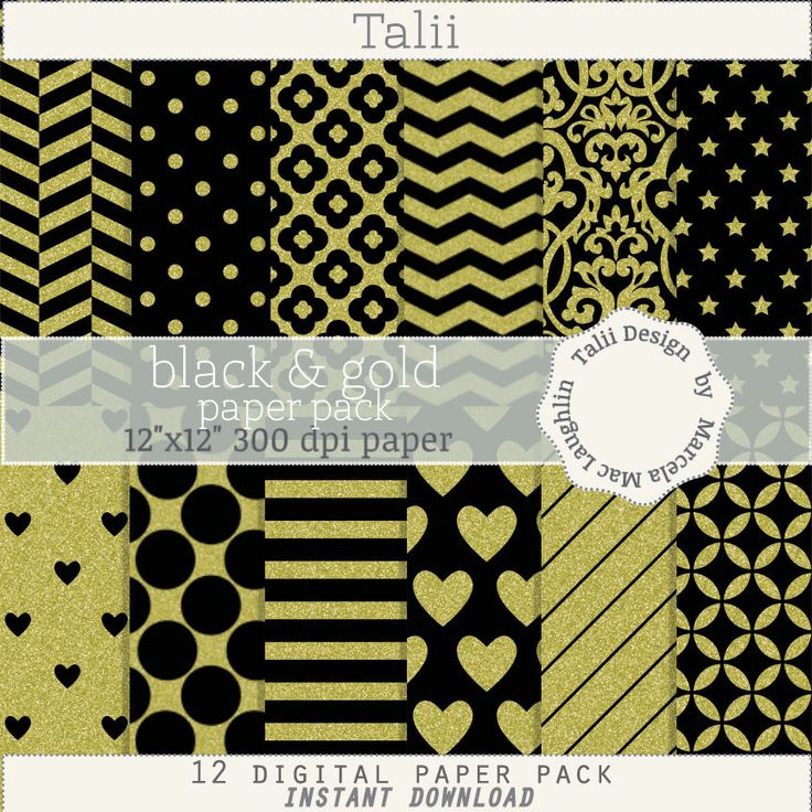 Black and Gold DIGITAL PAPER- Gold glitter on black background pattern party paper damask flowers dots hearts stars by TaliiDesign on Etsy