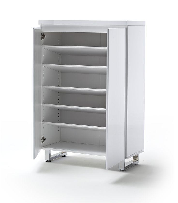 Schuhschrank Bianco II Hochglanz weiß passend zum Möbelprogramm Bianco 1 x Schuhschrank mit 2 Türen 5 Einlegeböden Maße: B/H/T ca.   85 x 126 x 38 cm...  #flur #schuhschrank