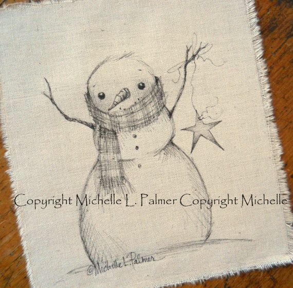 Snowman Star Winter Original Pen Ink Fabric by MichellePalmer - This is such a sweet drawing :)