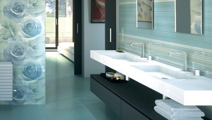 El color de moda y las tendencias actuales se unen para dar el sabor romántico al diseño del cuarto de baño, azulejos decorativos donde el arte y el azulejo se unen y crean murales cerámicas que recubren las paredes consiguiendo ambientes cargados de calor y sensualidad.