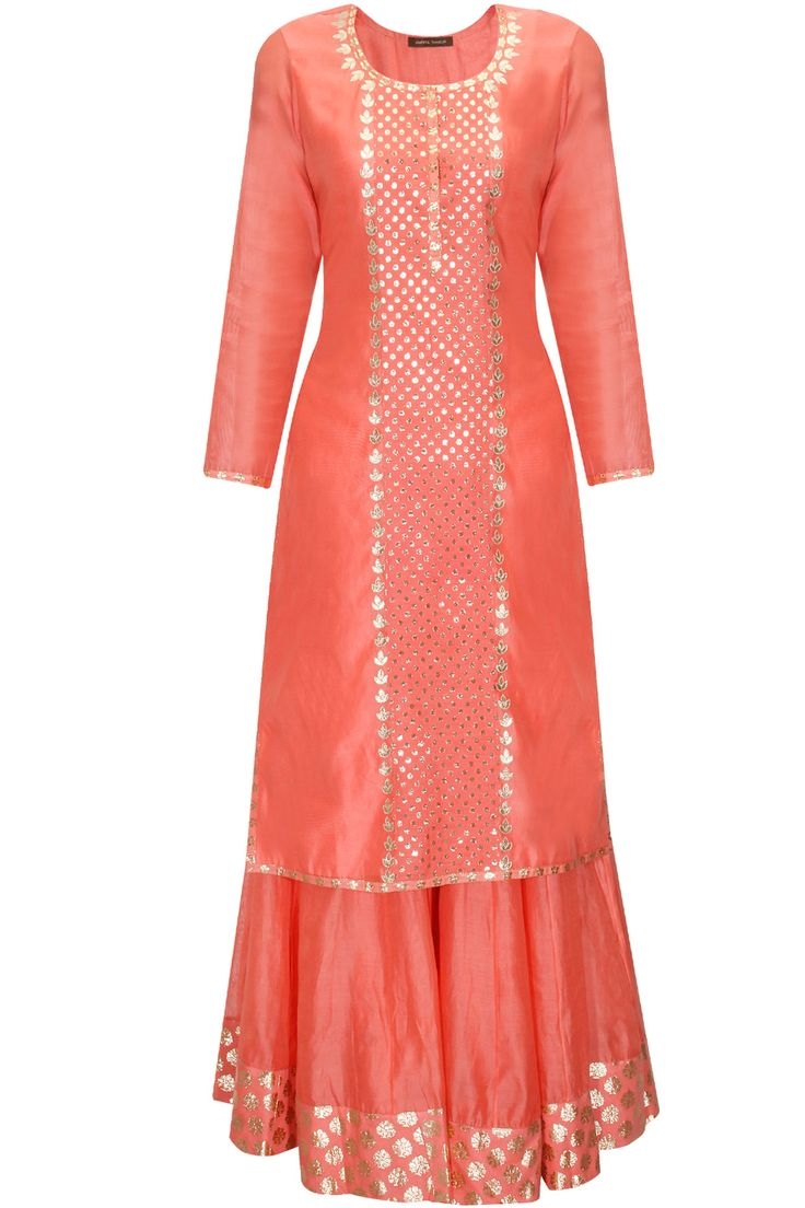 Dark peach and mint green applique work kurta and sharara pants set available only at Pernia's Pop Up Shop.