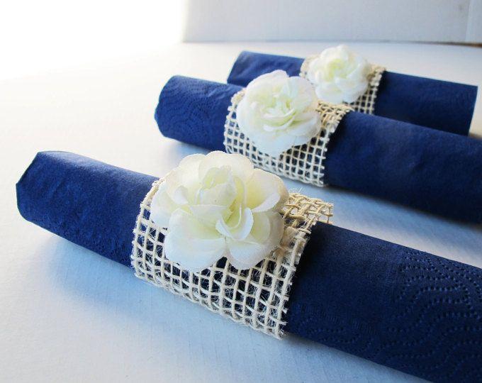 15 servilleteros cremosos blanco rosas arpillera blanqueados boda fiesta servilletas anillo boda mesa decoración papel servilleta titulares fiesta de cumpleaños