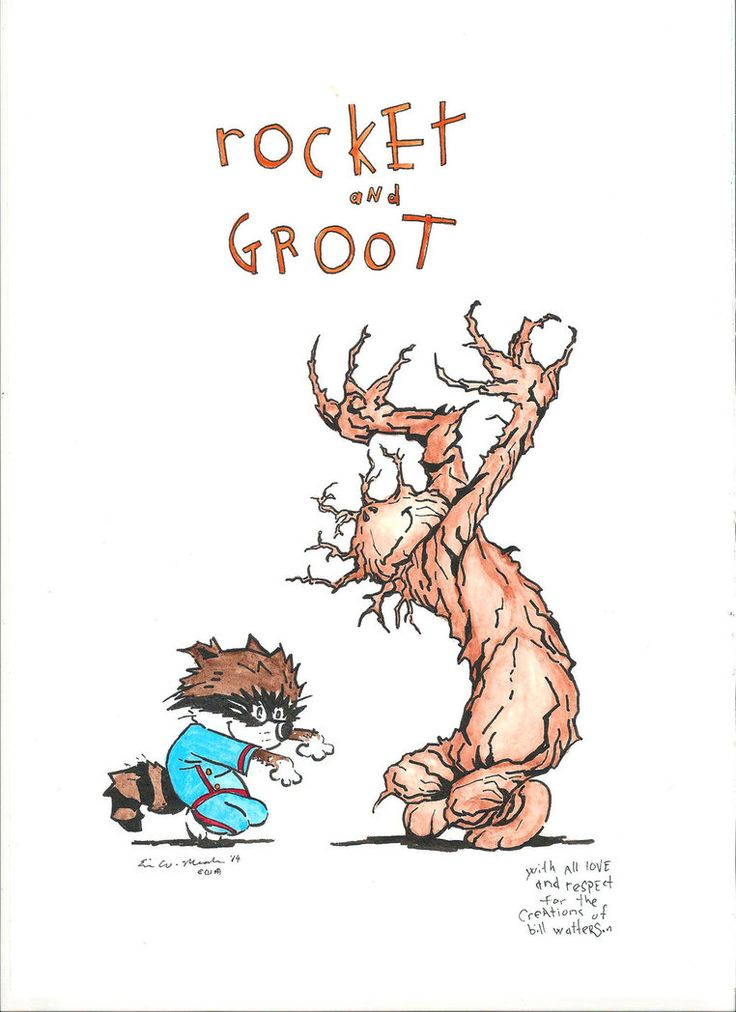 Rocket & Groot by Eric W. Meador (in the style of Bill Watterson's Calvin & Hobbes)