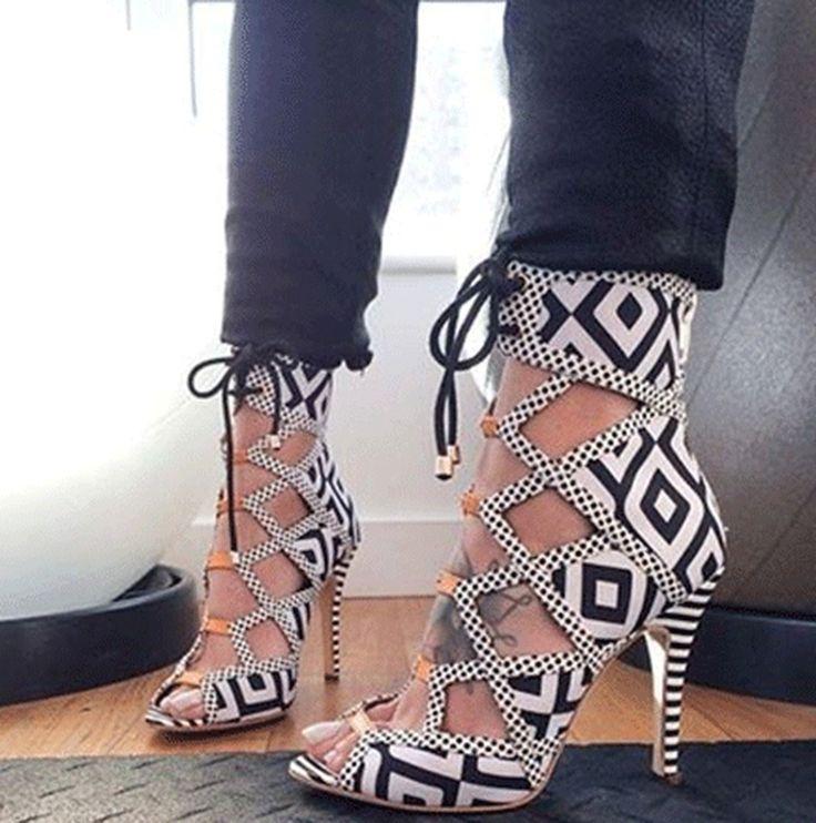 Fashionable Elegant Black & White Cut-Outs Dress Sandals