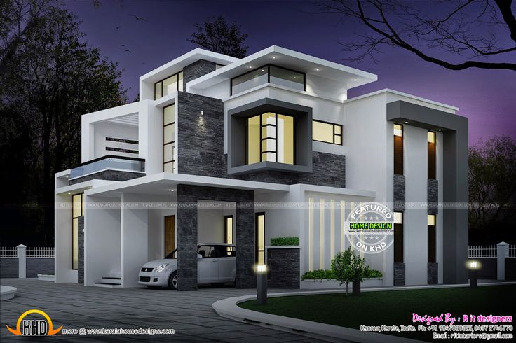 Side elevation view - Grand Contemporary home design - Night view of 3 bedroom♣ attached, beautiful contemporary house.   http://www.keralahousedesigns.com/2015/03/grand-contemporary-home-design.html  