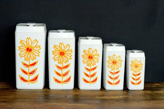 Nylex canisters set of five by ThatRetroPiece on Etsy, $80.00