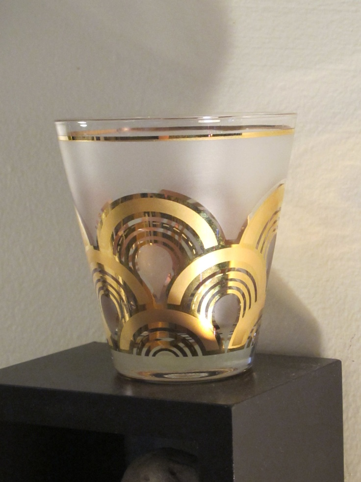 RARE CULVER Old Fashioned 22K 'CLOUDS GOLD' Gilded Frosted Glass.