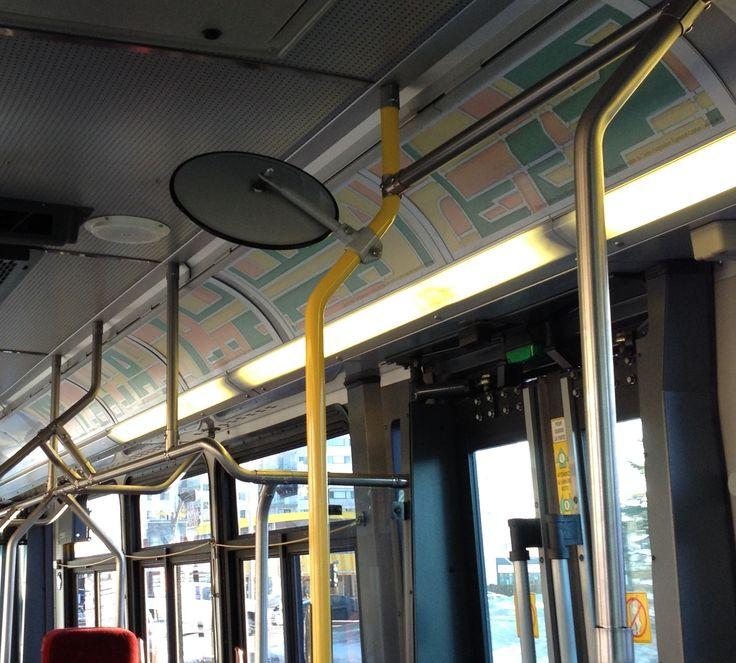 L'art contemporain se déplace! Projet d'exposition mobile dans les autobus de la Société de Transport de Trois-Rivières. Sur la photo : Motifs de transport de l'artiste Suzie Bergeron, 2015, Impression numérique