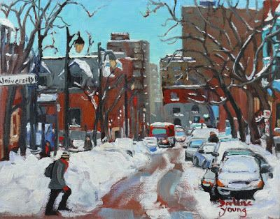 Darlene Young a Painting a Day: 1034 Montreal Scene, McGill Ghetto, 8x10, oil on b...