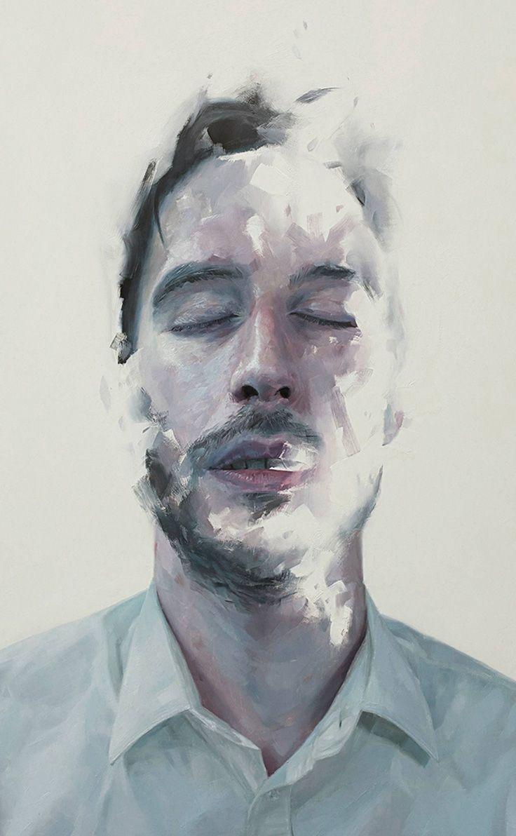 Henrik Uldalen, oil on wood, 2012 {figurative art male head portrait man face cropped painting}