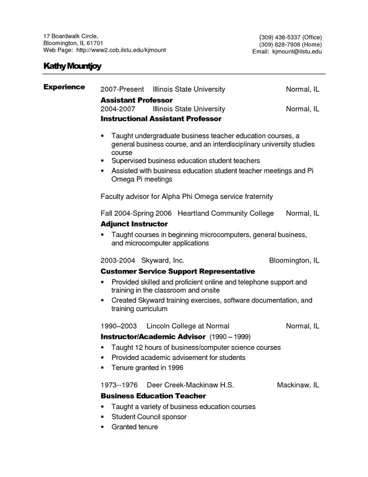 The 25+ best Curriculum vitae in english ideas on Pinterest - college professor resume