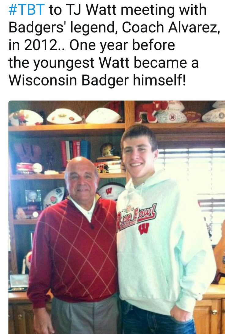 JJ Watt Foundation Twitter - 7.6.17 - TJ & the legend, Barry Alvarez - #BadgerDays #DreamBigWorkHard #HuntGreatness #JustAKidFromPewaukee #BadgerToSteeler #SteelerNation