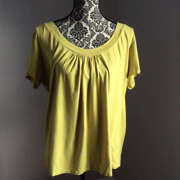 Ashley Stewart basic top In pre loved condition. Color is yellowish mustard. Size 18/20. No rips or stains. Minor pilling. 95% cotton 5% spandex Ashley Stewart Tops Tees - Short Sleeve