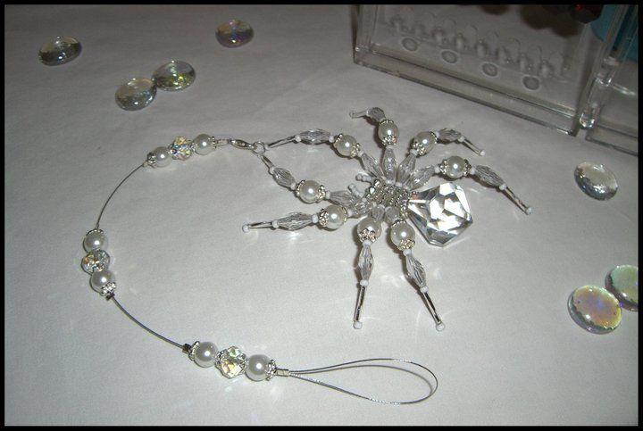 Beaded 3D crystal spider sun catcher