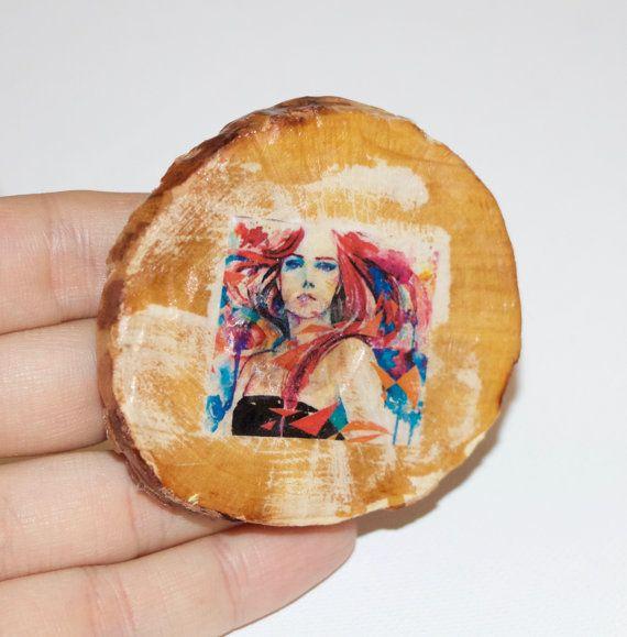 woman brooch woman pin woman wood brooch by woodjewelrywithlove