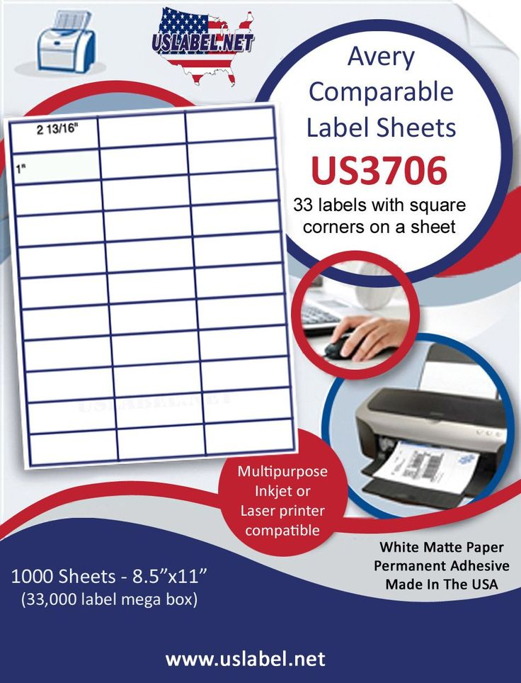 US3706 - 1'' x 2 13/16'' - 33,000 5351 labels inkjet or laser labels in a box.