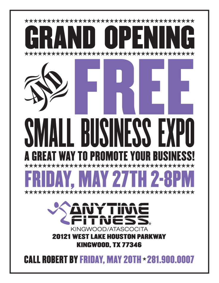 Small Business Expo Flyer Client Anytime Fitness Kingwood