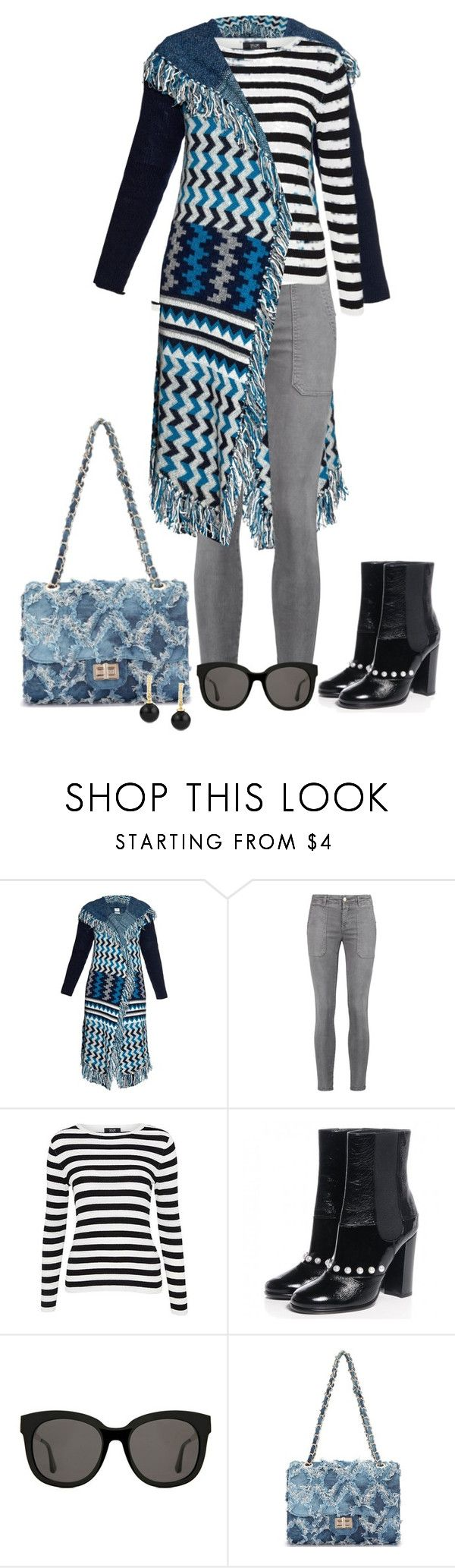 """Untitled #3305"" by elia72 ❤ liked on Polyvore featuring Banjo & Matilda, Current/Elliott, Chanel, Gentle Monster and David Yurman"