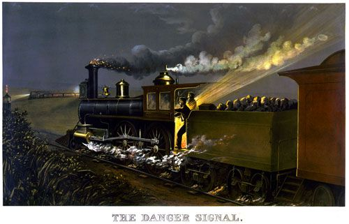 The Danger Signal, c. 1884. The engineer of locomotive in the foreground is giving a danger signal as another train approaches.