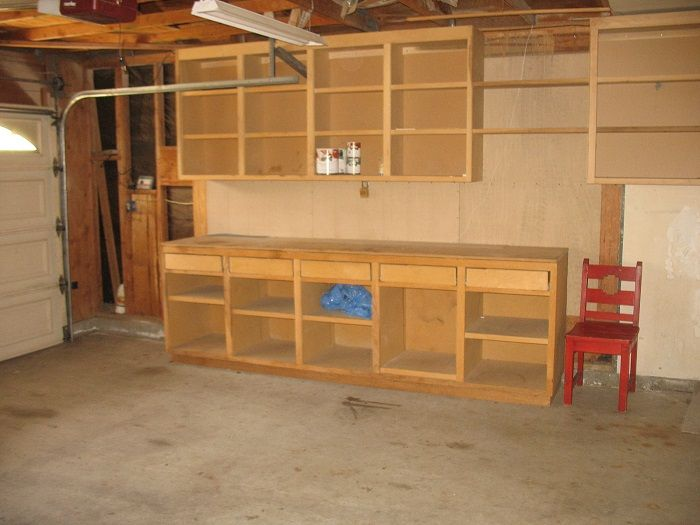 Stunning Garage Workbench Made Of Wood Combined With Upper Shelving Unit And Style Ceiling Exposed Beams Photograph Pavilion Plans Backyard