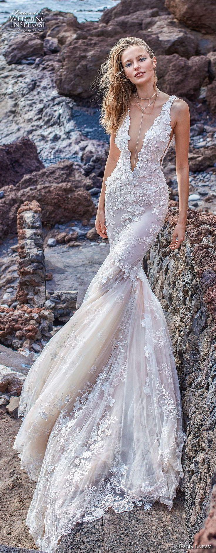 galia lahav gala 2018 bridal sleeveless deep v neck heavily embellished bodice open side elegant sexy mermaid wedding dress v back chapel train (3) lv -- Gala by Galia Lahav Collection No. 5 Wedding Dresses #wedding #weddings #bridal