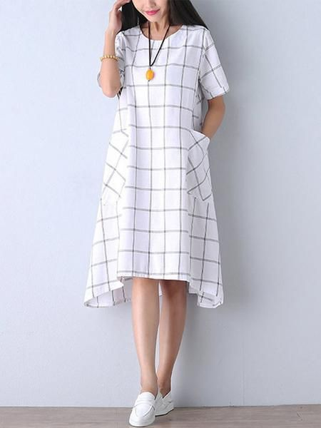 0cc2763df5 Casual Women Check Pocket Knee-length Cotton Linen Dress