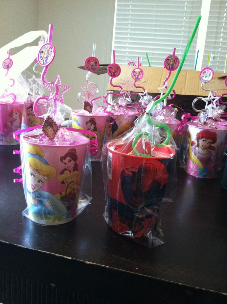 Princess party favor cups for a girls party. Spider-Man cups for the boys attending.
