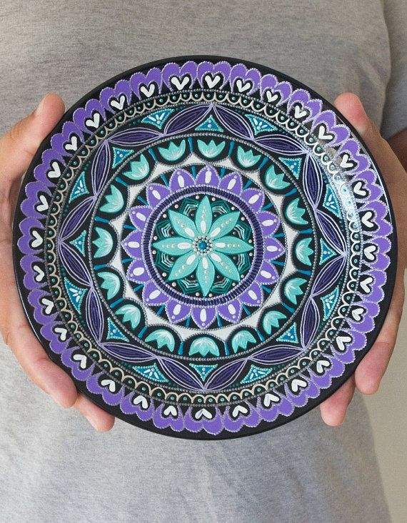 Hand painted plate - Wall hangings - Plaque - Wall plate - Decorative plates - Point-to-point - Housewarming gift - Easter gift