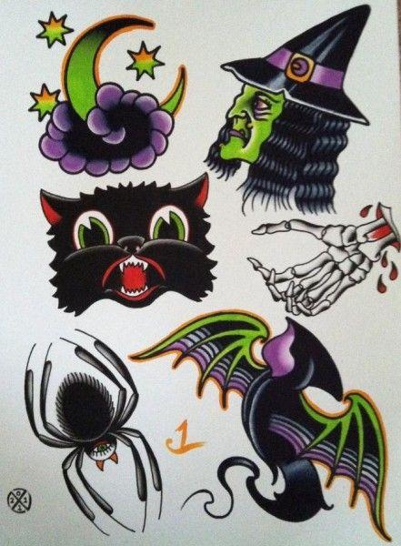 Halloween Tattoo Flash; LOVE THE CAT!