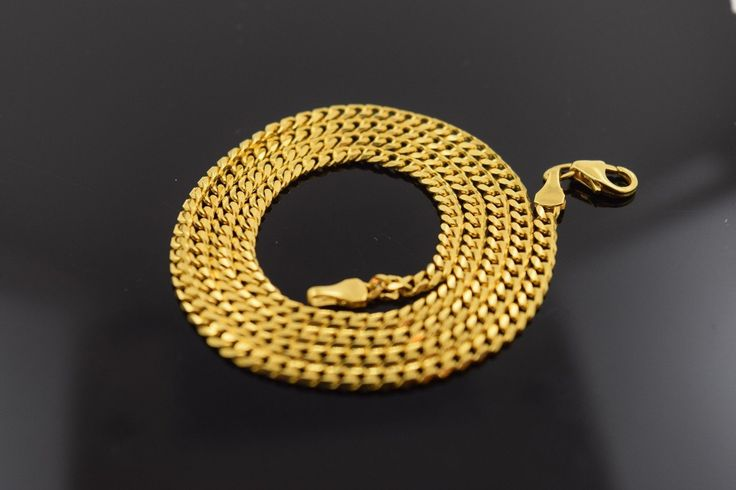 22k Yellow Solid Gold Chain Rope Necklace 1.2 mm c36 with white diamond cut box