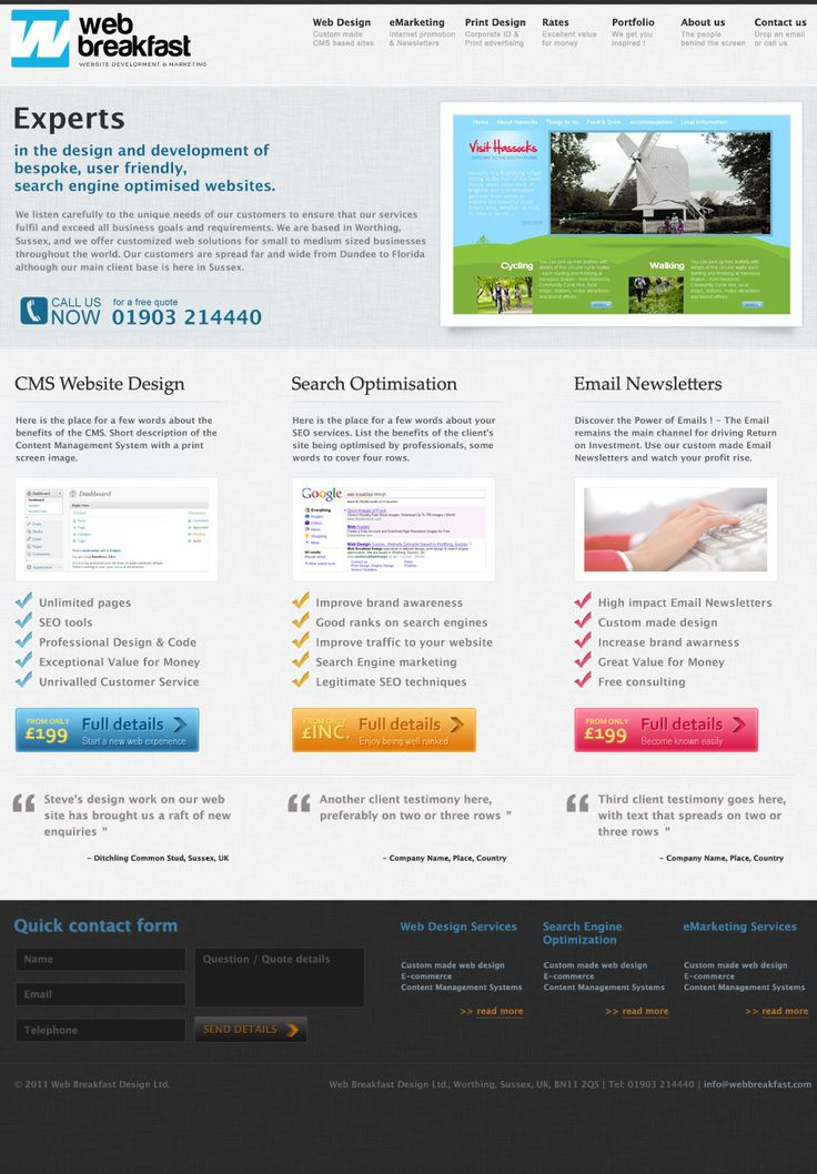 Layout design for a Web agency based in England. Light background with colorful call to action elements and large images. The site is online at: http://www.webbreakfastdesign.co.uk/