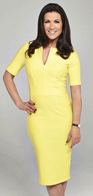 Hot colour: Susanna Reid was pictured in a lemon yellow frock for Good Morning Britain.