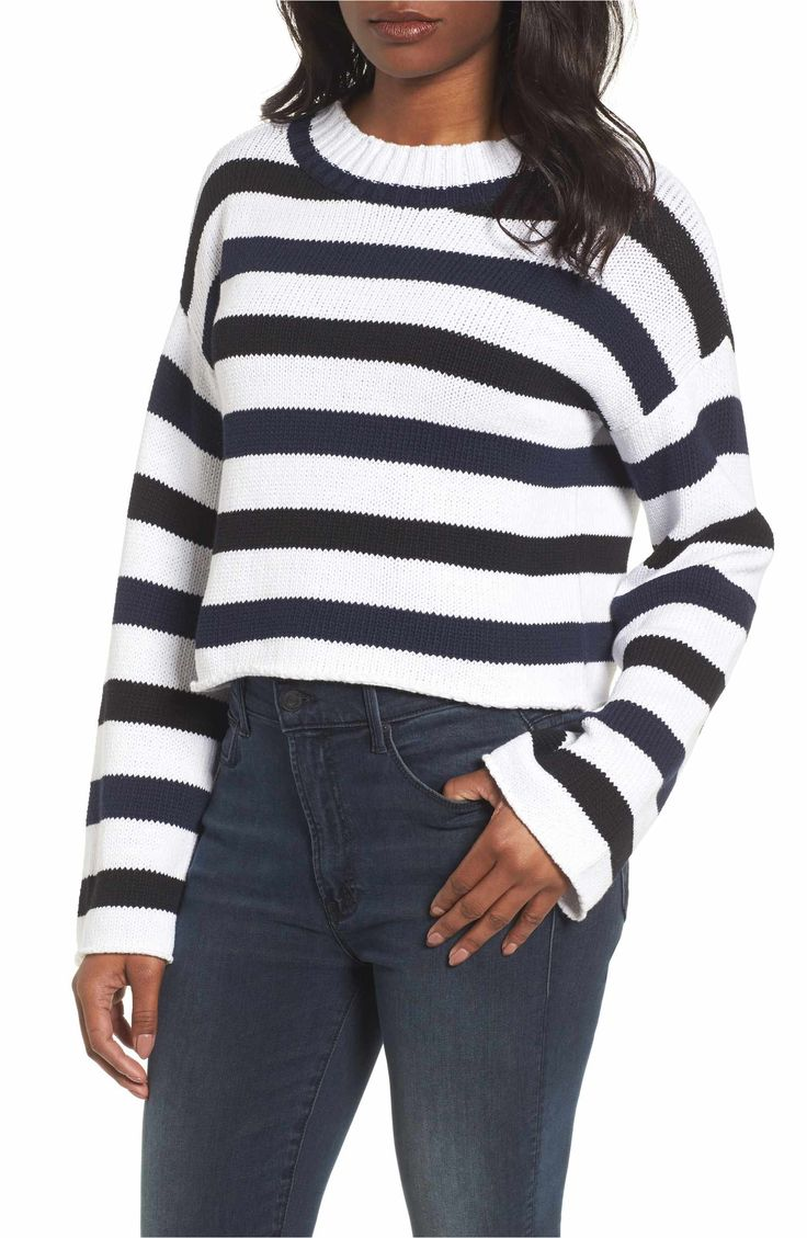 Main Image - Kenneth Cole New York Wide Stripe Crop Sweater