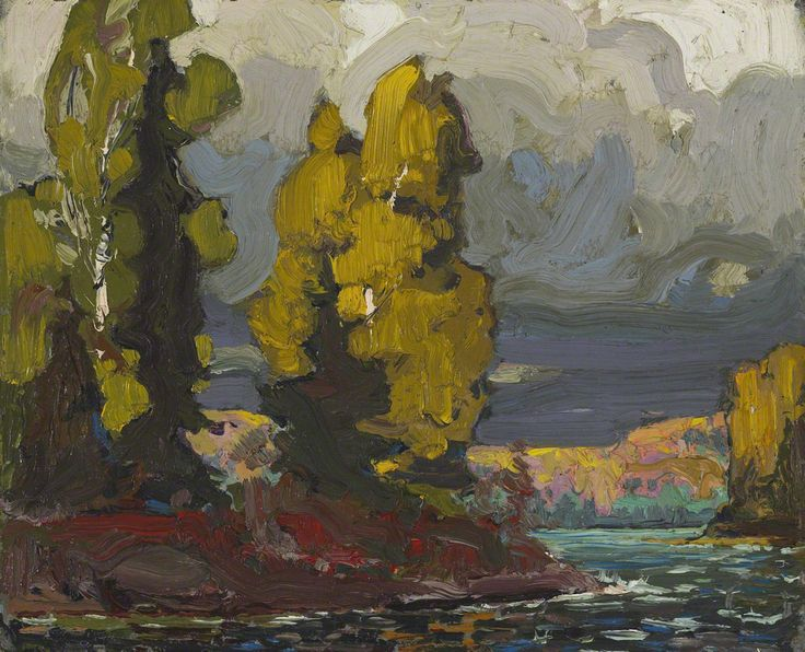 tom thomson Poplars by the Lake, 1916 [oil on board; 21.5 x 26.8 cm]