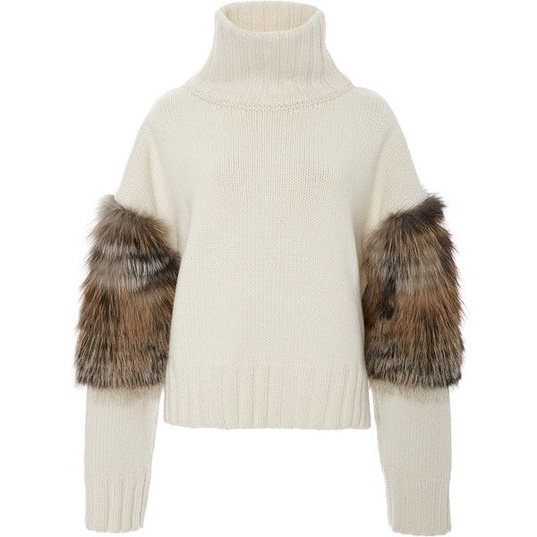 Sally LaPointe Cross Fox Fur Trimmed Turtleneck Sweater found on Polyvore featuring tops, sweaters, polo neck sweater, turtle neck top, white turtleneck, fur trimmed sweater and sweater pullover