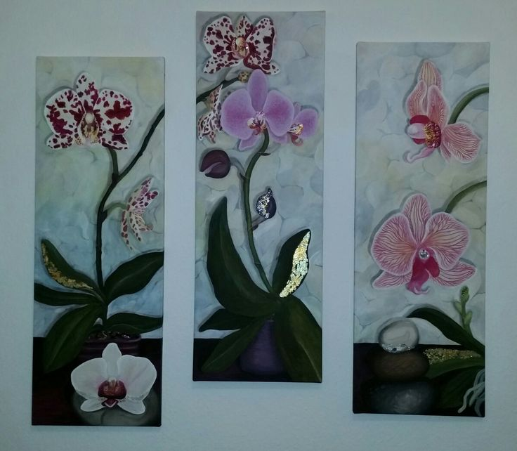 #Bilder, #Leinwand, #Triptychon, #Orchideen, #Blumen, #rosa, #Blattgold
