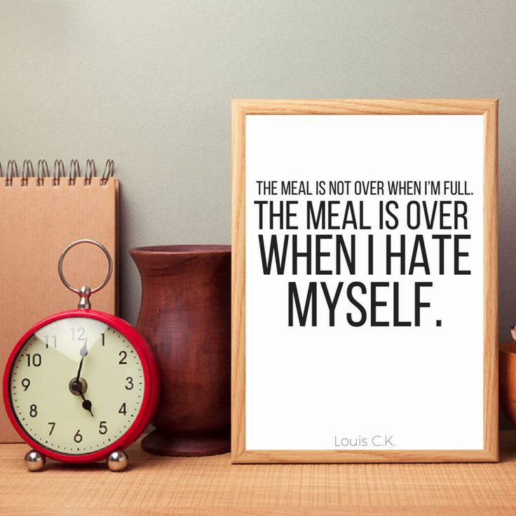 The meal is not over when I'm full, The meal is over when I hate myself - Louis CK quote printable Funny food quote print / funny food wall art