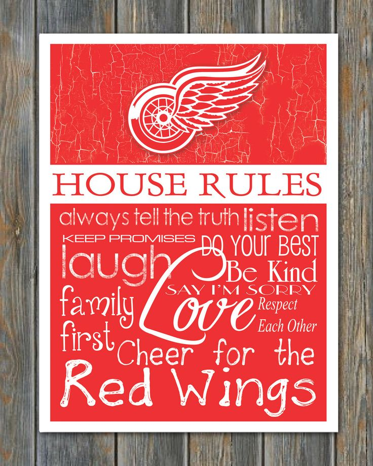 DETROIT RED WINGS House Rules Art Print by fanzoneimprintz on Etsy https://www.etsy.com/listing/203326879/detroit-red-wings-house-rules-art-print