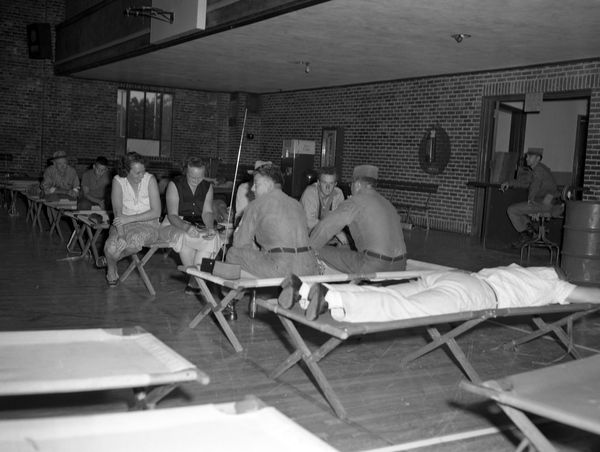 People in the Leon County Armory in Tallahassee during Hurricane Donna.