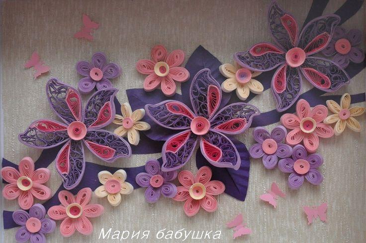 quilling, квиллинг, цветы,  бумажные полоски, панно, flowers